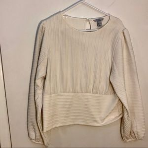 H&M large textured cream blouse long sleeved